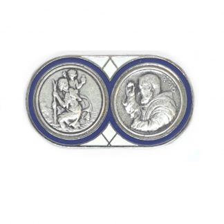 St Christopher and Pio Vehicle Plaque. Adhesive and Magnetic. Approx 5cm x 2.5cm