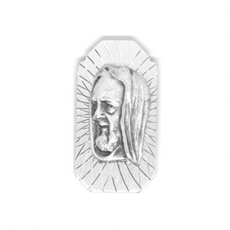 St Pio Rectangle Car Plaque - Small. Approx. 3.5cm x 2cm