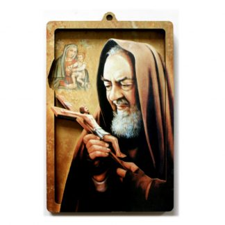 St Pio 3D wood picture