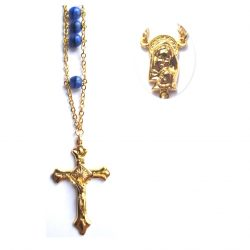 BLUE/BLACK DOUBLE LINKED ROSARY BEADS
