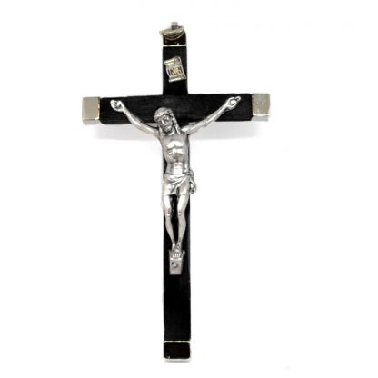 "Black Wood and Silver Metal Crucifix approx. 5.5"" x 3"" (14.5cm x 8cm)"