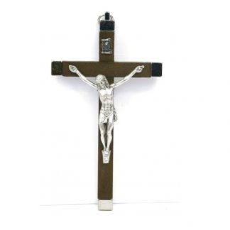 Brown Wood and Silver Metal Crucifix Approx. 5.5″ x 3″ (14.5cm x 8cm)