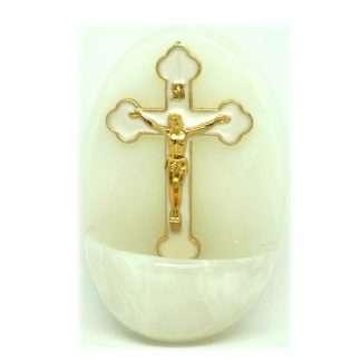 B100 gilt & white crucifix font