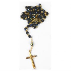 BLACK DIAMOND ROSARY(GILT CROSS)