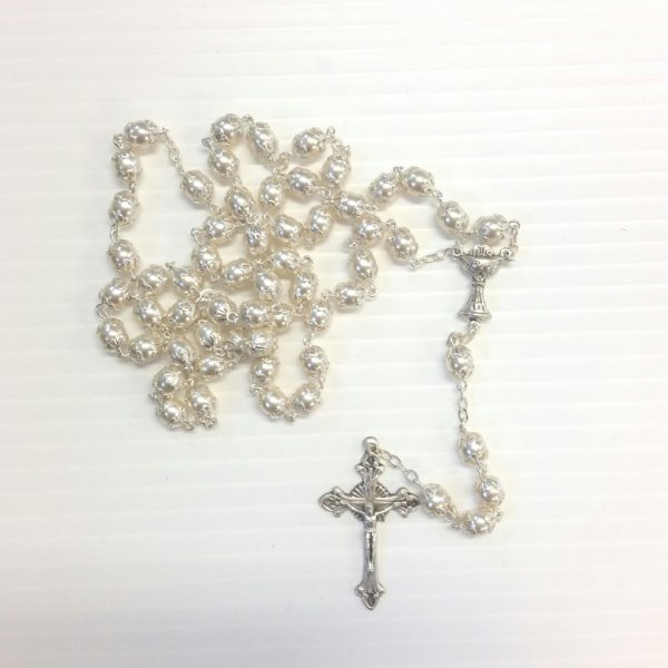 White Pearl First Holy Communion RosaryBOX109