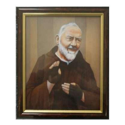 Padre Pio Picture Framed. 24.5cm x 29.5cm
