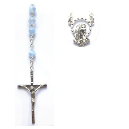 Light blue rosary beads with a fleck design running through them.