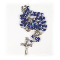 Blue medal rosary with Box