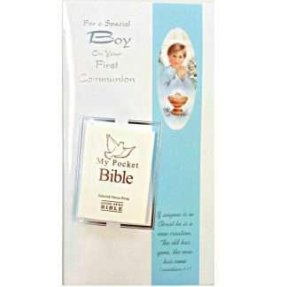 Boy Pocket Bible First Communion Card