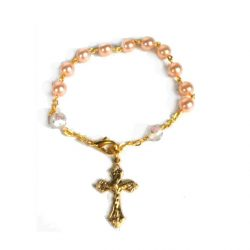 Girls Pink Bracelet with Crucifix