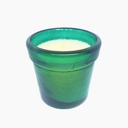 Large Green Glass Candle