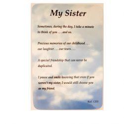 My Sister Prayer Card