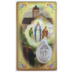 Our Lady of Knock prayer card with medal