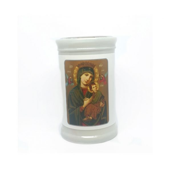Perpetual Help Candle approx. 10cm high and has prayer to Our Lady of Perpetual Help on the reverse side.