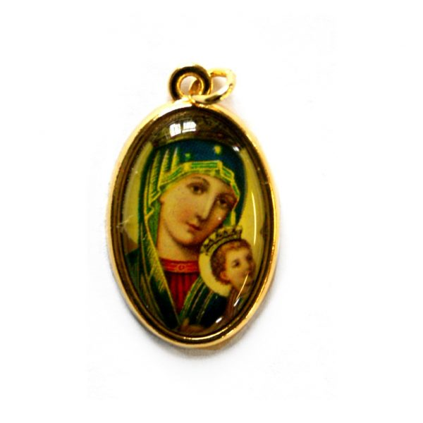 """Our Lady Of Perpetual Succour picture medal - Also known as our Lady of Perpetual Help, Approx 1"""" oval medal with gilt backing."""
