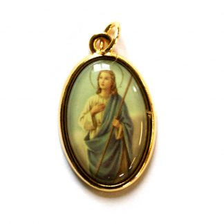 "St. Martha picture medal - Gilt Surround. Approx 1"" Oval"