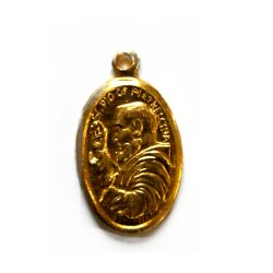 "Padre Pio Medal Approx 1"" Oval gilt medal."