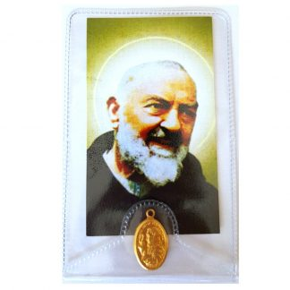 Padre Pio prayer card with medal