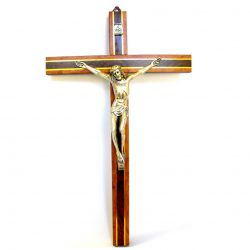 Wood Crucifix with Silver Copus