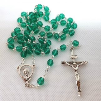GREEN GLASS ROSARY BEAD