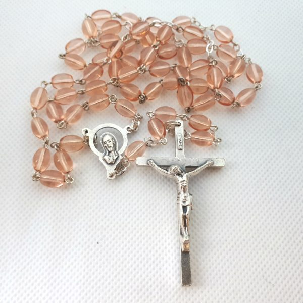 Peach Rosary Clear Glass RS012