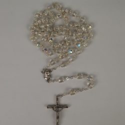 Crystal Metal Capped Rosary RS036