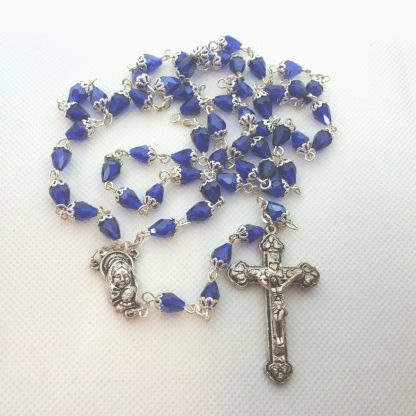 DARK BLUE SILVER CAPPED ROSARY