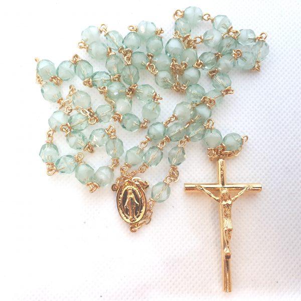 RS381 green crystal rosary