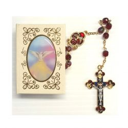 Red confirmation rosary and box