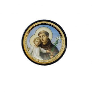 St Anthony Vehicle Plaque - Adhesive and Magnetic. Approx. 5cm diameter