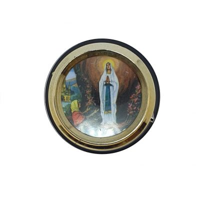 Lourdes Vehicle Plaque. Magnetic and Adhesive - Approx. 4.5cm diameter