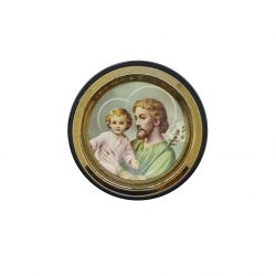 St Joseph Vehicle Plaque - adhesive and magnetic, Approx 4.5cm diameter