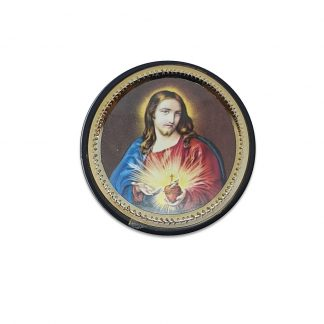 Sacred Heart Vehicle Plaque - adhesive and magnetic. Approx 4.6cm in diameter