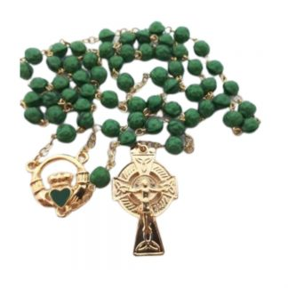 Handmade Claddagh Rosary Beads Green