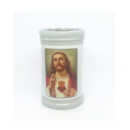 Sacred Heart Candle including Prayer to The Sacred Heart of Jesus on the back.