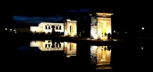 The amazing Temple of Depod lit up at Night. Madrid, Spain.
