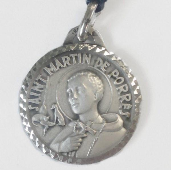 Saint Martin Sterling Silver Medal Pendant Diamond Cut