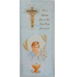 Boys Gold Cross Communion Card