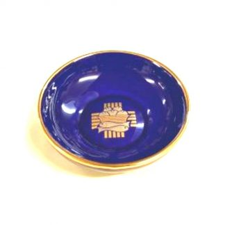 Blue Ceramic Paten (Deep) Glazed Glazed with cobalt blue; inner cup,emblem and trim hand-painted in 12 percent genuine gold