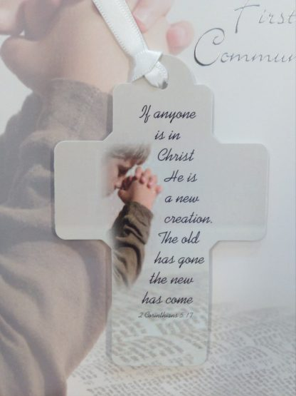 Ribbon Cross Keepsake Boy Special Son Communion Card