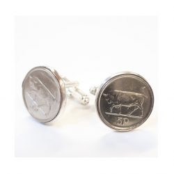 Novelty Cufflinks with old five pence pieces