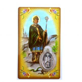 Saint Patrick Irish Blessing Prayer Card with Medal