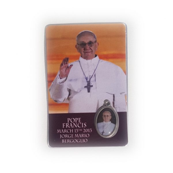 Pope Francis Prayer Card with medal