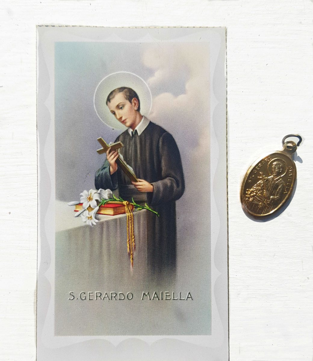 St Gerard Prayer Card with Medal