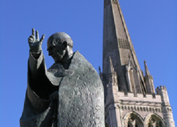 Statue of St Richard outside Chichester Cathedral. CREDIT: The Novium Museum - http://www.thenovium.org