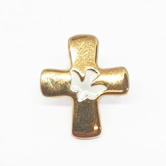 White & Gilt Holy Spirit Lapel Pin Beautiful Gilt Cross with a red dove centered on the front. Perfect gift for those making their confirmation.