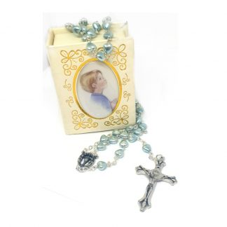Blue Imitation Pearl Boys Communion Rosary