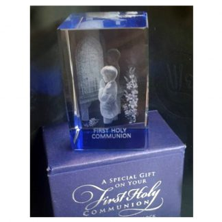 Boys Communion Laser Etched Glass Block