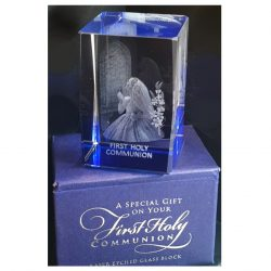 Girl Laser Etched Glass Communion Blocks