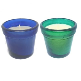 Large Blue and Green Glass Candle Set